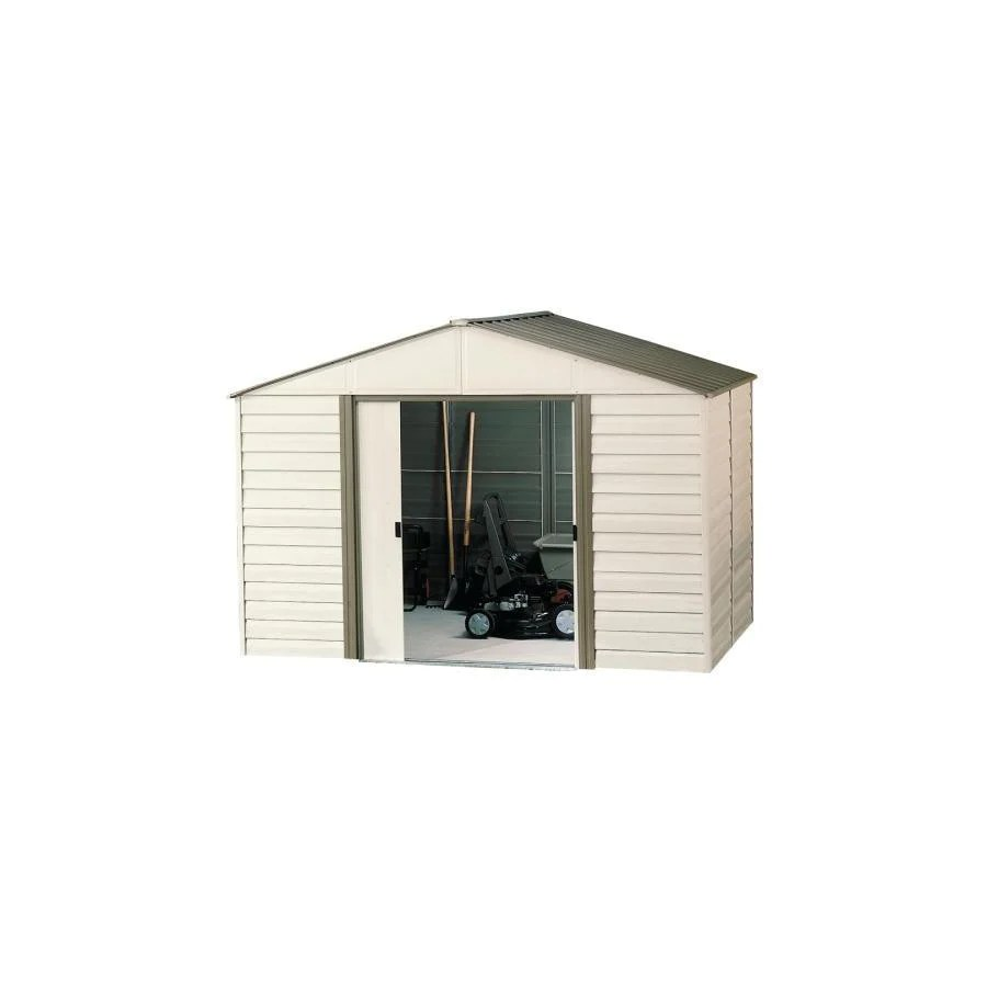 Steel Storage Sheds Arrow Vinyl Coated Steel Storage Shed Common 10 Ft X 12 Ft Interior Dimensions 9 85 Ft X 11 71 Ft