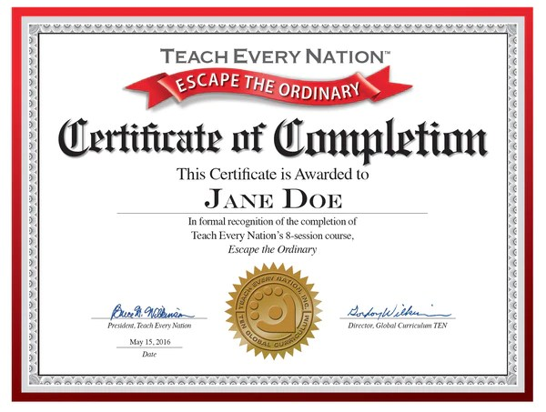 class completion certificate templates