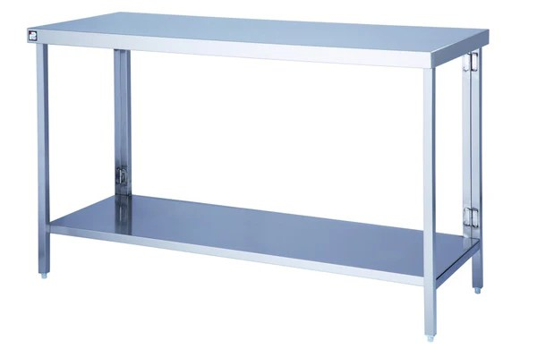 Stainless Steel Flatpack Wall Table With Under Shelf Big