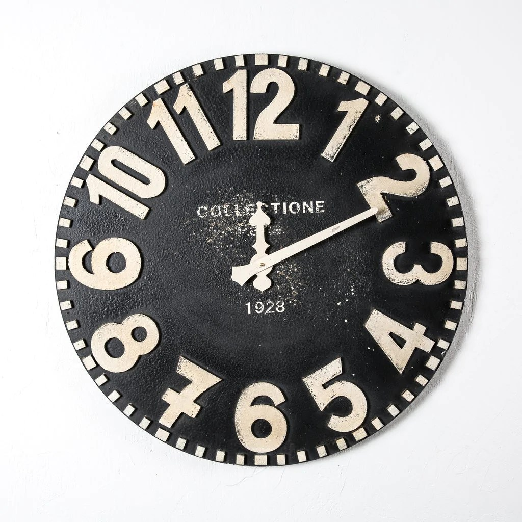 Black Wall Clock Black And White Wooden Wall Clock