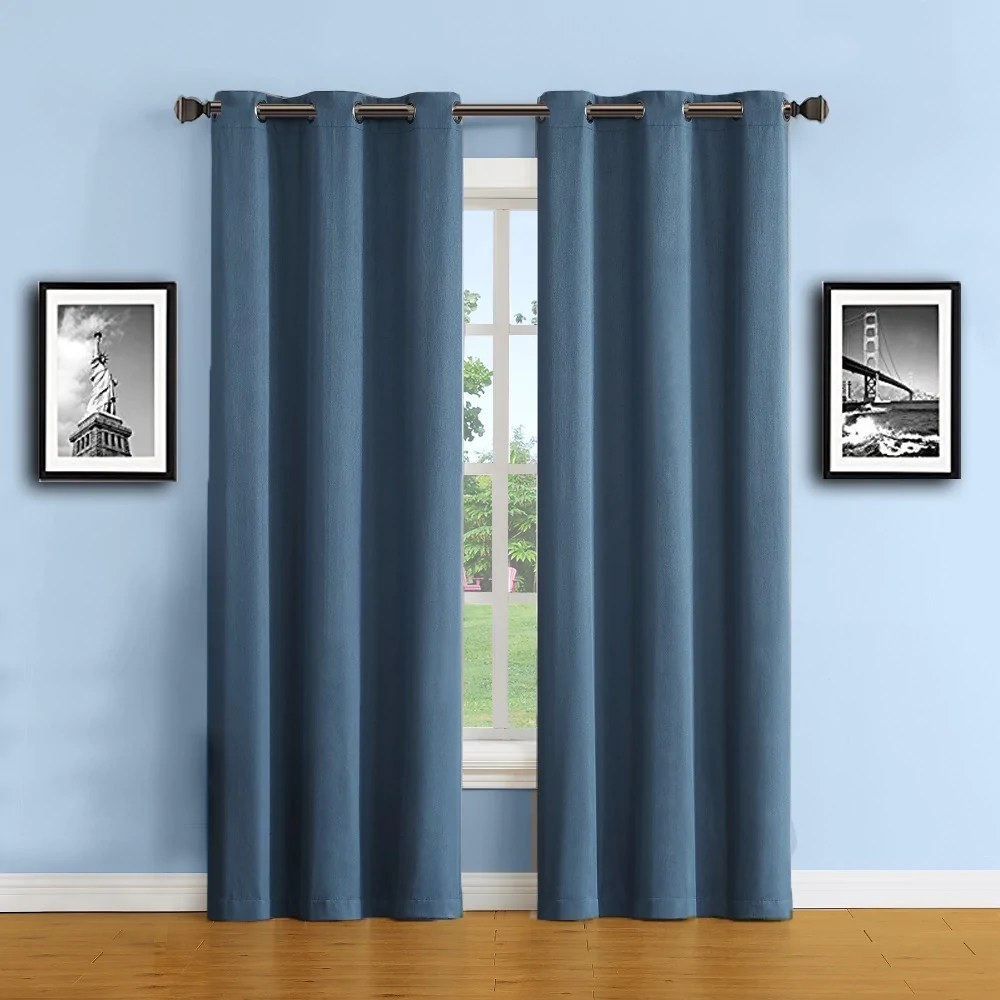 Thermal Patio Door Curtains With Grommets Warm Home Designs 100 Blackout Insulated Thermal Bedroom Curtains In Midnight Blue Color