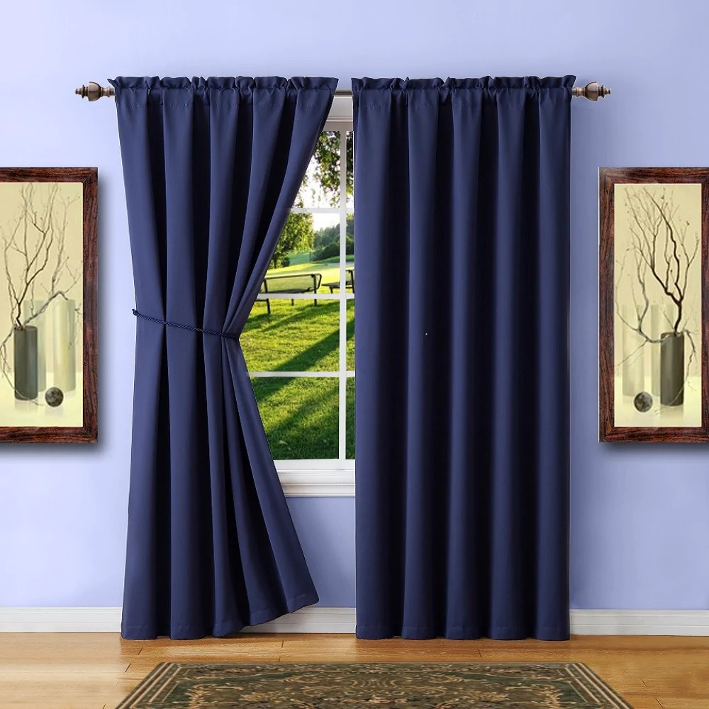 Curtains For A Blue Room Warm Home Designs Pair Of 2 Navy Blue Room Darkening Curtains With 2 Tie Backs In 63 84 96 108 Inch Length