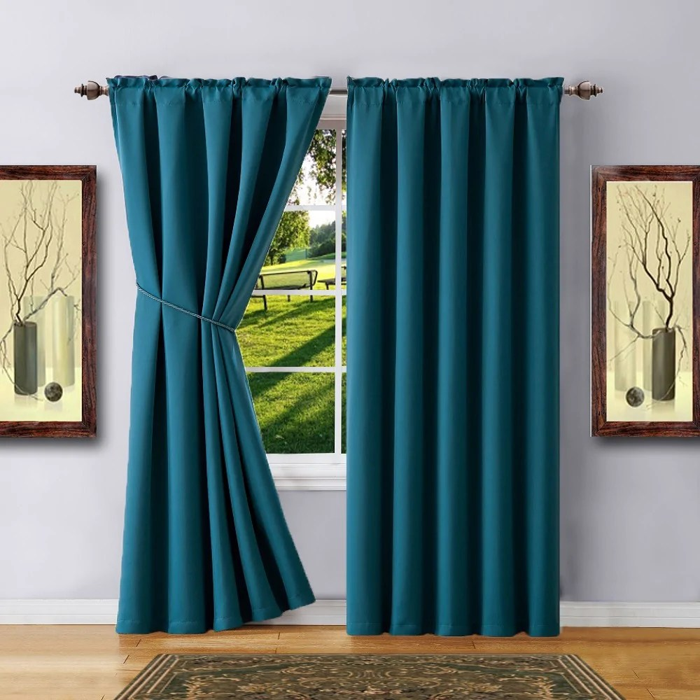 Teal Blackout Curtains Warm Home Designs Pair Of 2 Teal Room Darkening Curtains With 2 Tie Backs In 63 84 96 108 Inch Length