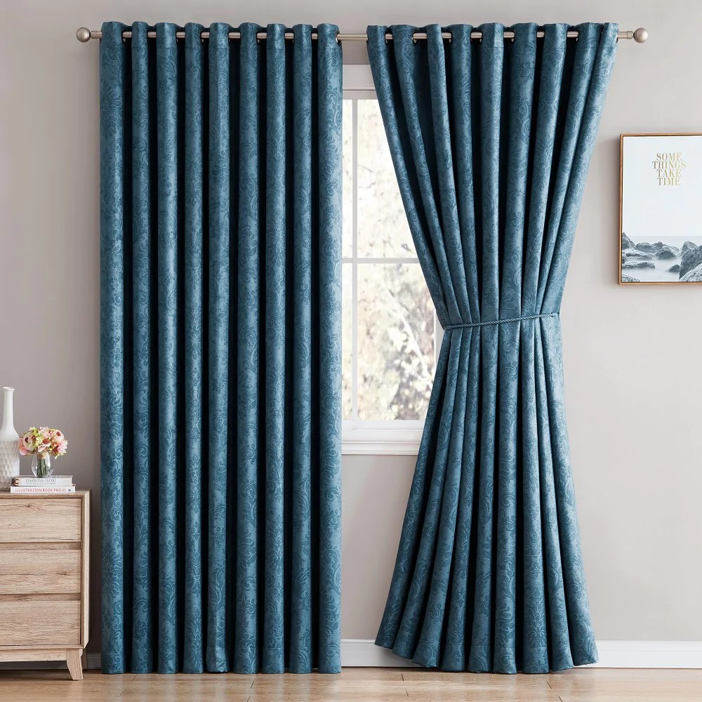Teal Blackout Curtains Warm Home Designs Embossed Textured Blackout Energy Efficient Teal Blue Curtains In 12 Sizes