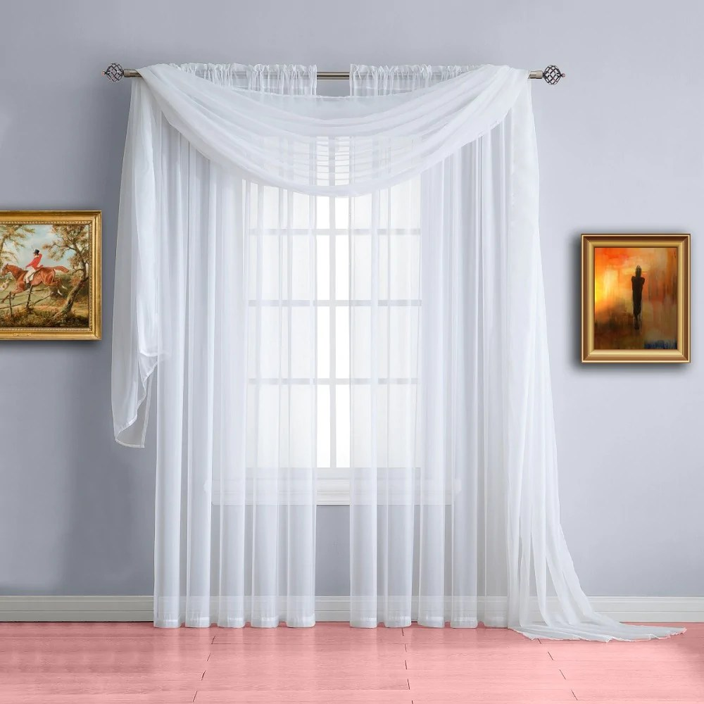 Curtains For Long Windows Warm Home Designs Pair Of White Sheer Curtains Or Extra Long Window Scarf