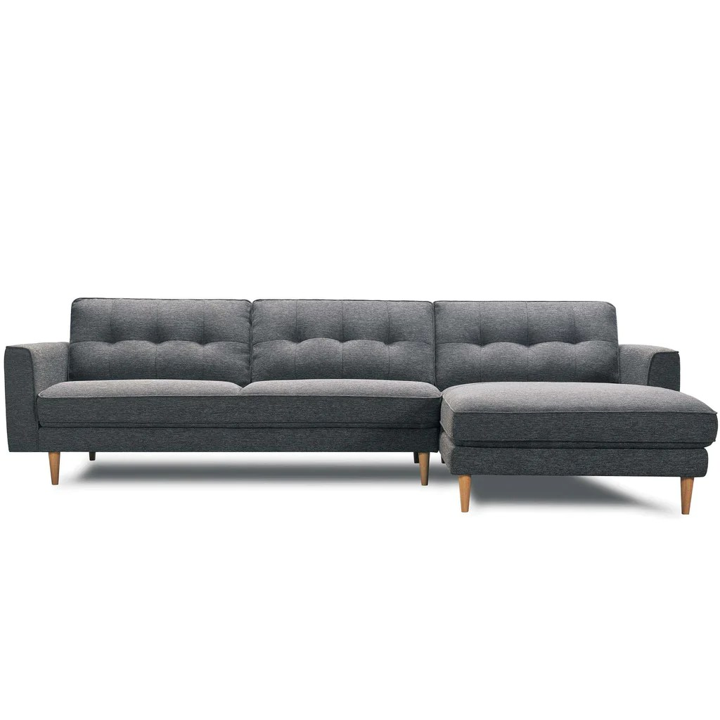 Modern Quilted Sofa Brighton Sofa Chaise With Quilted Back Cushions