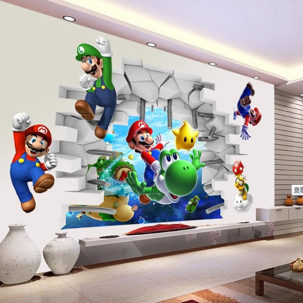 super mario wall sticker fanster club mario wall decals grasscloth wallpaper