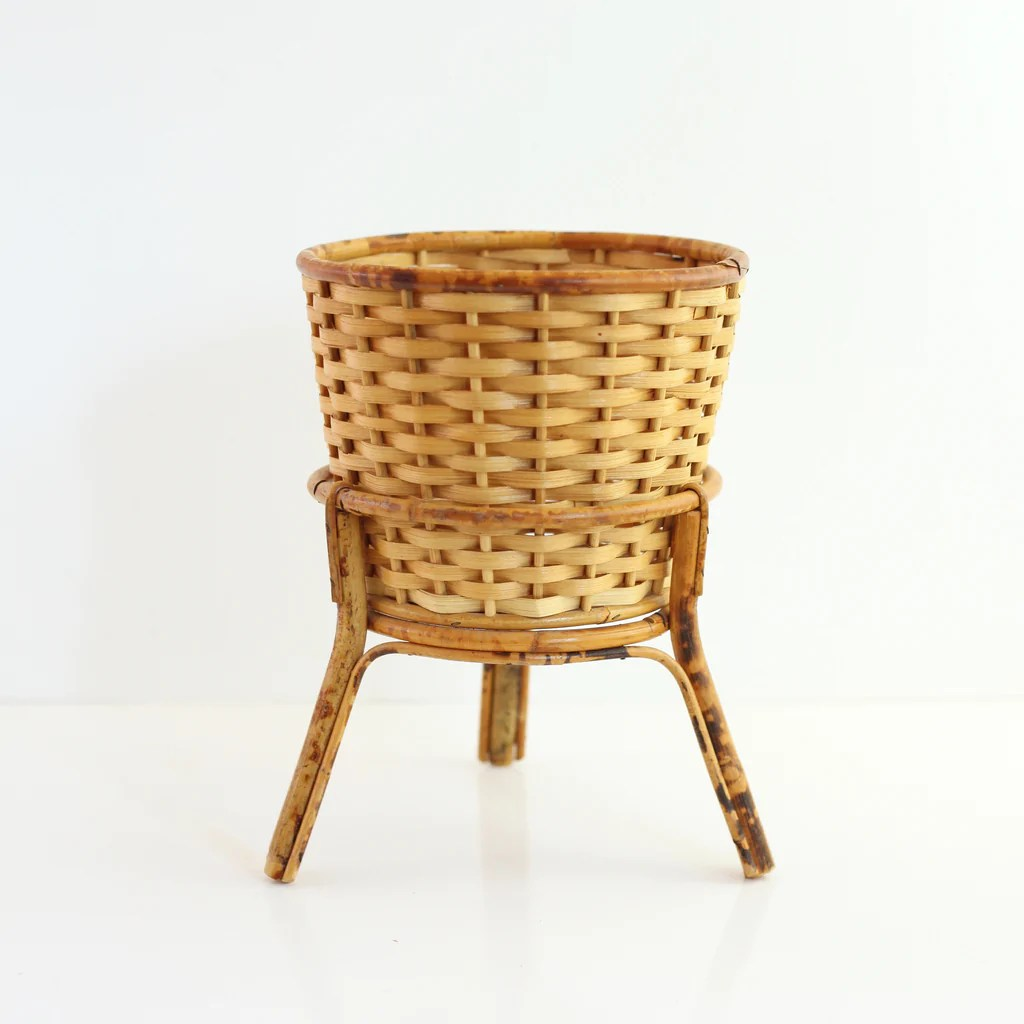 Bamboo Planter Stand Wood Plant Stand Wicker Plant Stand Planter Vintage Plant T
