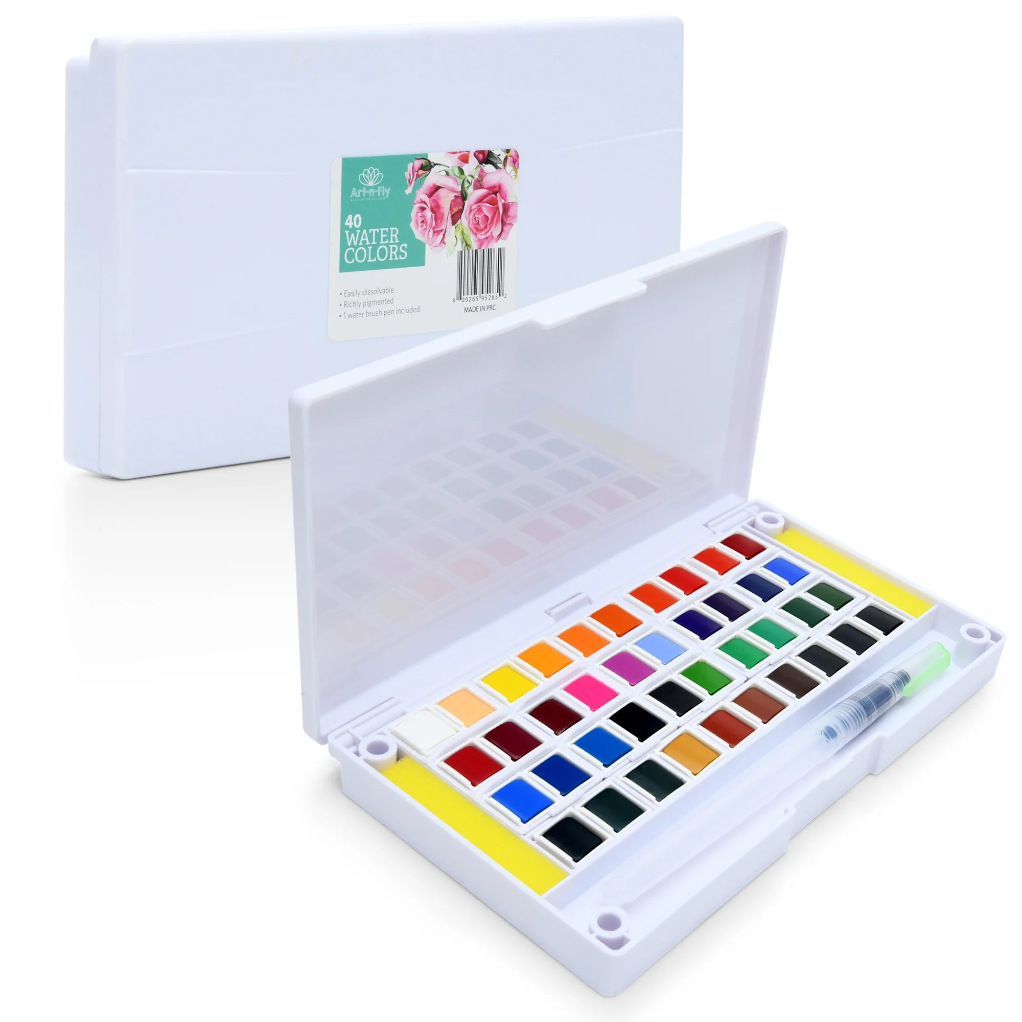 Colored Water Brush 40 Watercolor Set Includes Water Brush Sponges And Mixing Palette