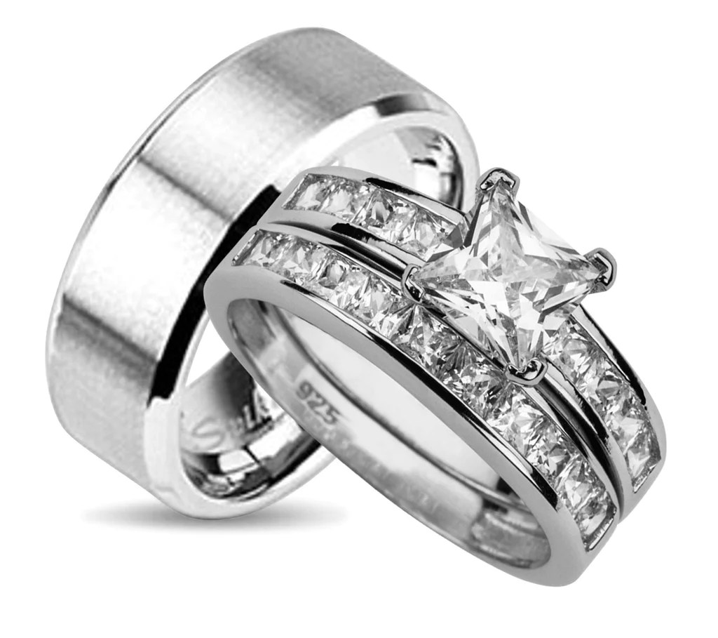 his and hers wedding ring sets in sterling silver inexpensive wedding ring sets His and Her Wedding Sets Look Real Not Cheap