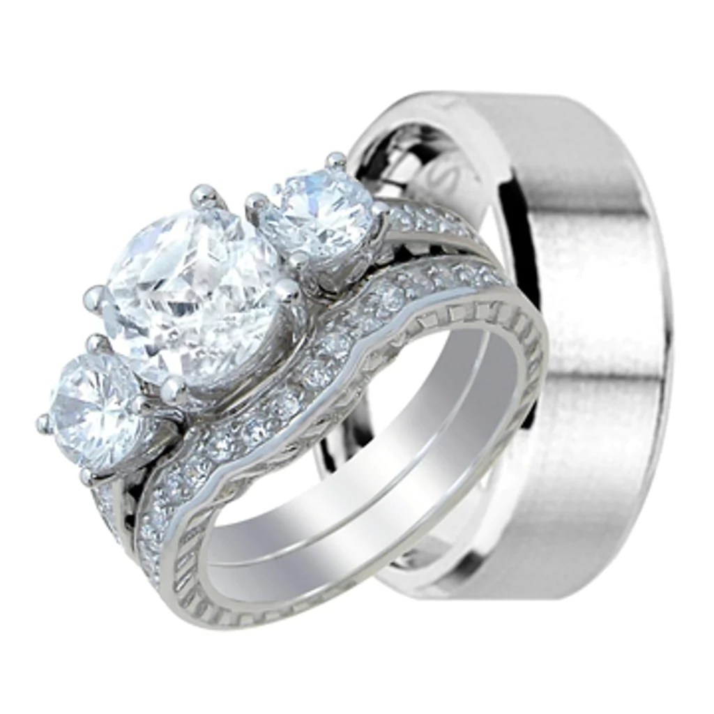 his and hers wedding ring sets in sterling silver inexpensive wedding ring sets His and Her Wedding Ring Band Set for Him Stainless Steel and Her