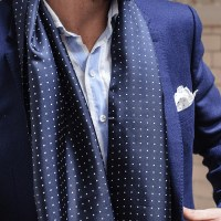 Mens Navy Polka Dot Silk Scarf  Black.co.uk