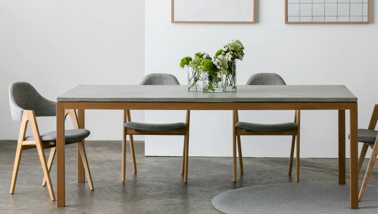 venice american oak slimline dining table concrete kitchen table Venice Dining Table