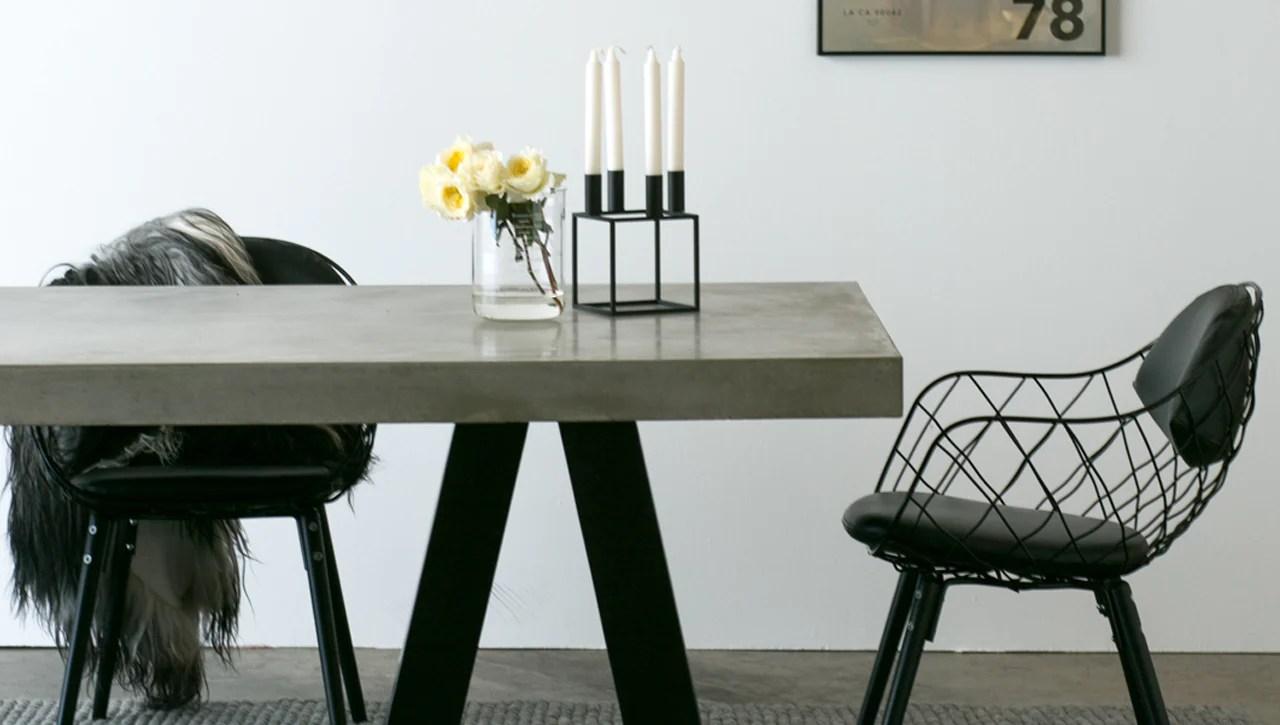 london black trestle dining table concrete kitchen table London Dining Table