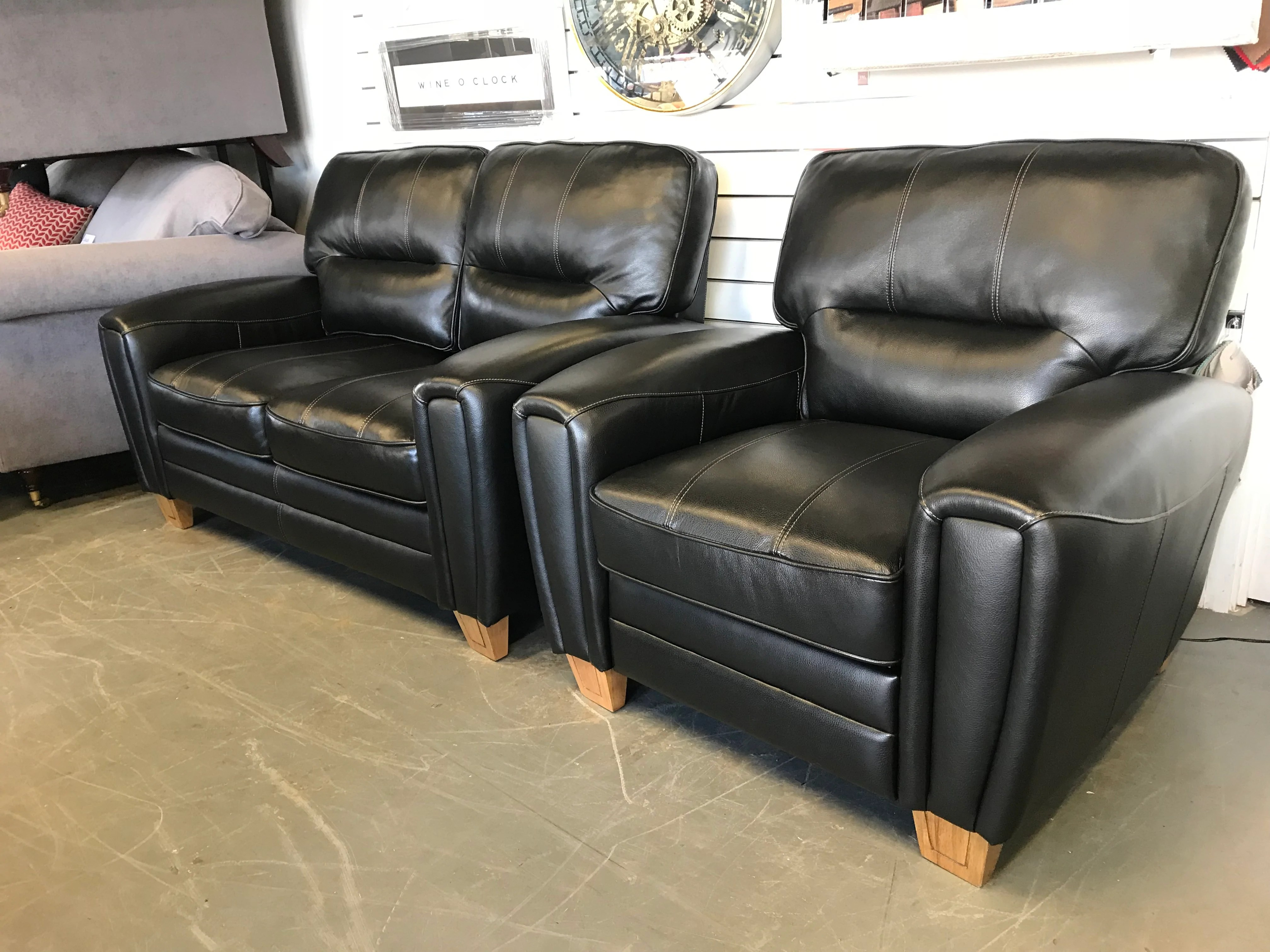Ex Display Sofa A Designer Petite 2 Seater Sofa Matching Reclining Armchair In Black Leather