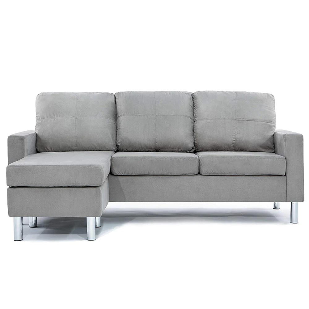 Metro Modern Reversible Small Microfiber Sectional Sofa With Chaise Sofamania Com