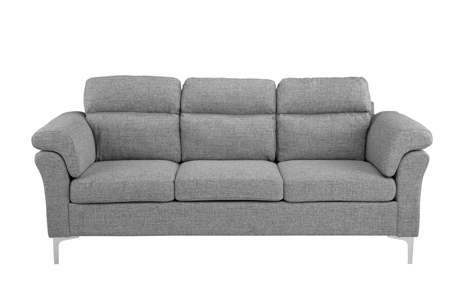 Sofa Via Via Contemporary Linen Sofa With Chrome Legs Sofamania
