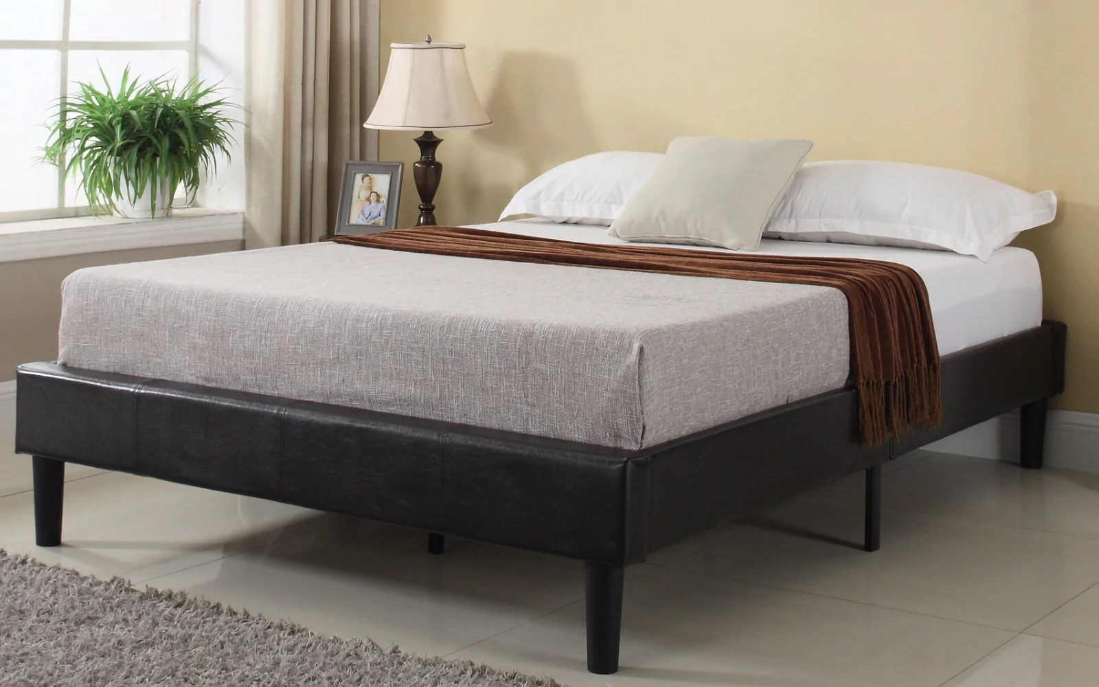 Leather Bed Frame Cape Contemporary Bonded Leather Bed Frame With Slats