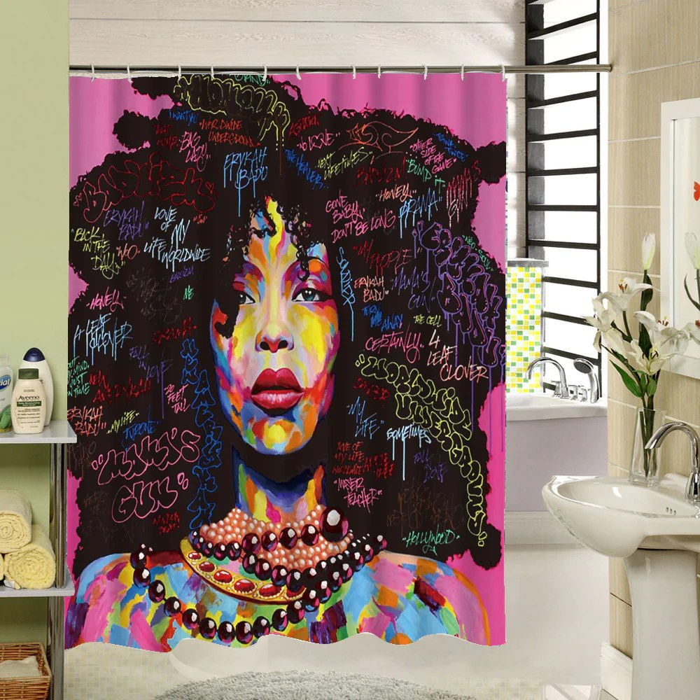 Black Queen Shower Curtain Kinky Shower Curtain Home Decorations