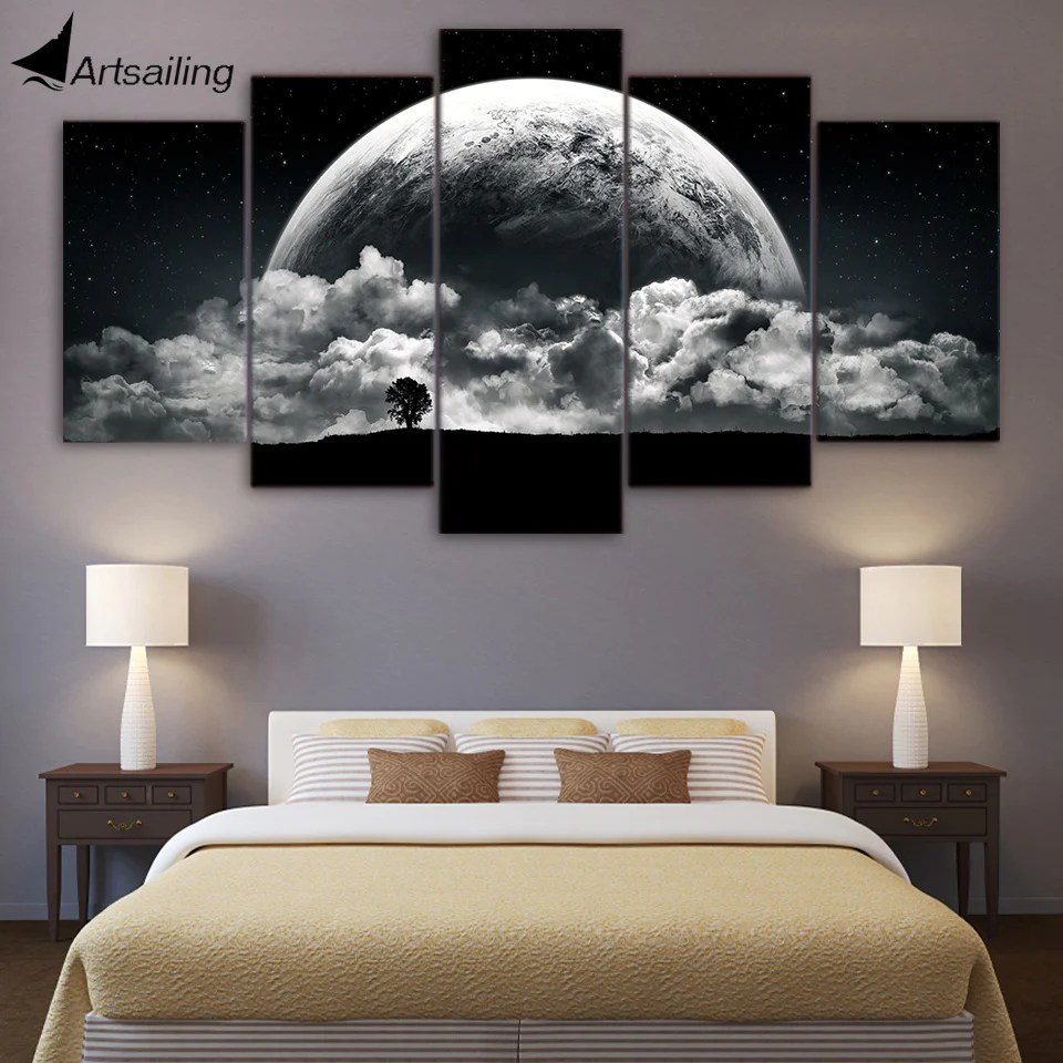 Planets Wall Art Canvas Paintings Printed 5 Pieces Night Clouds Planets Wall Art Canvas Pictures For Living Room Bedroom Home Decor Cu 1424a