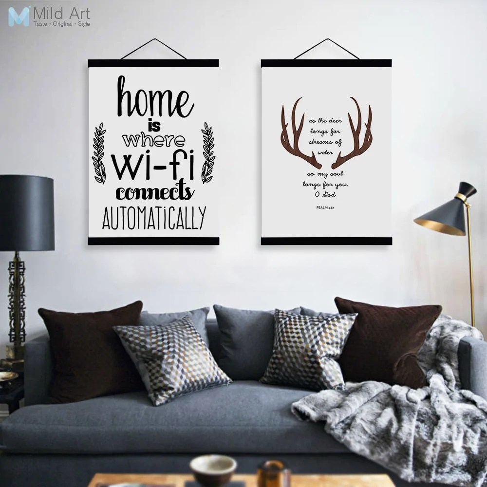 Modern Lighting Quotes Abstract Deer Head Wifi Quotes Wooden Framed Canvas Paintings Modern Nordic Home Decor Big Wall Art Print Pictures Poster Scroll