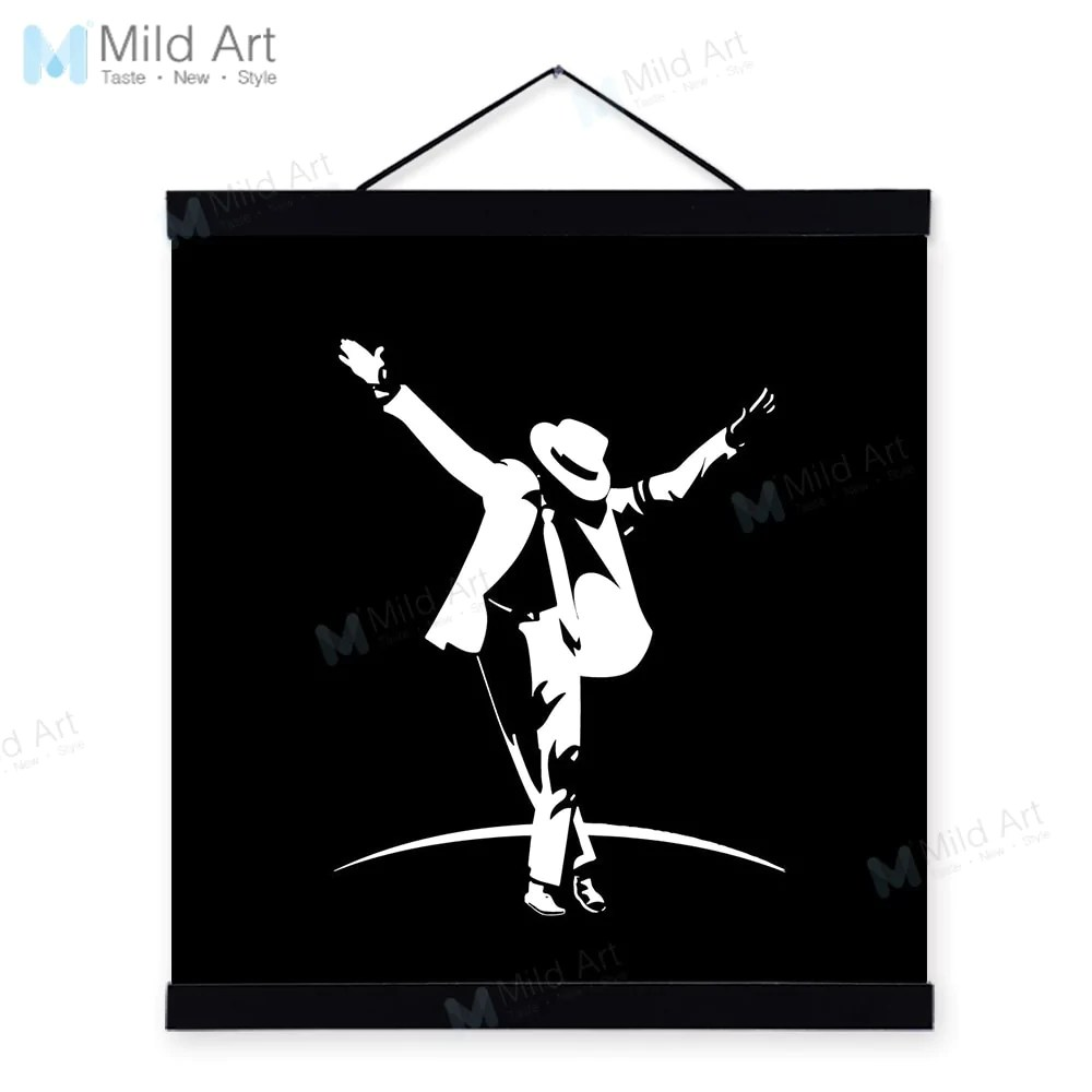 Wall Art Prints And Posters Black White Michael Jackson Pop Music Superstar Wooden Framed Posters Boy Room Wall Art Picture Bar Decor Canvas Painting Scroll