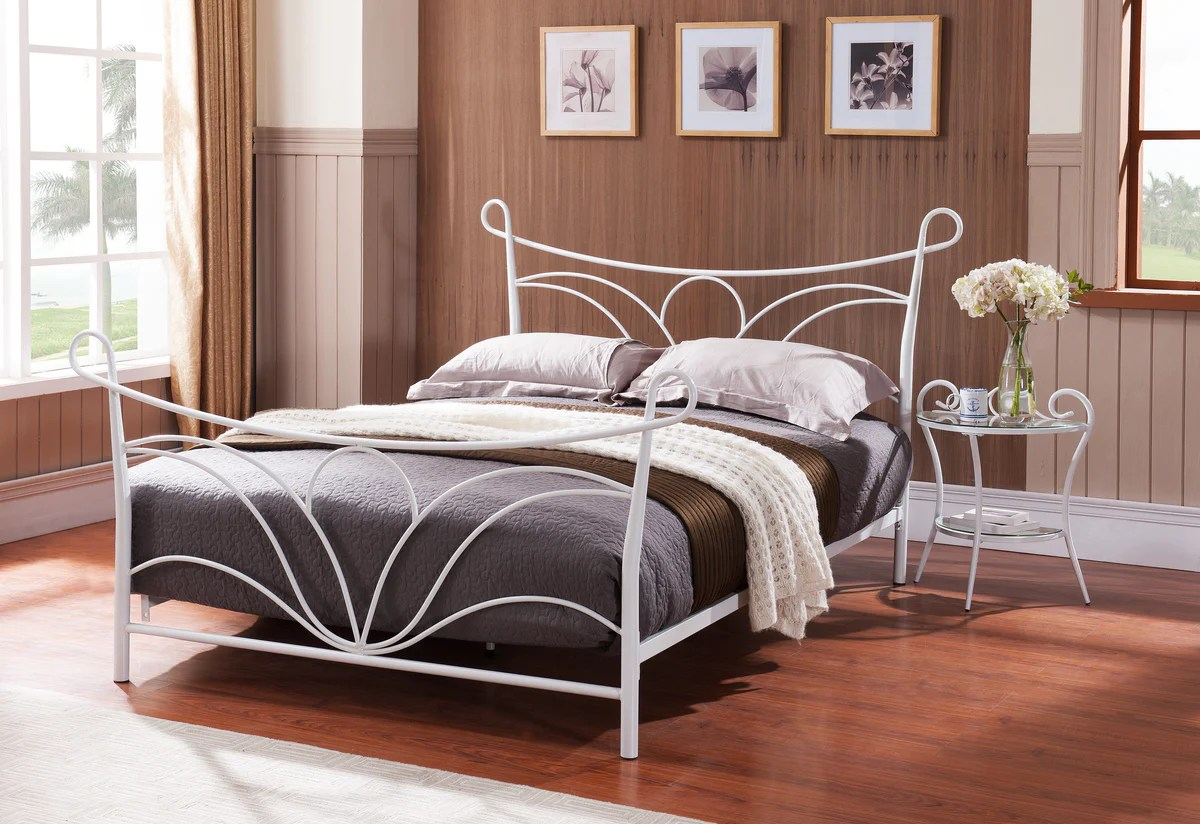 Metal Bed Headboards Laurel Hammer White Metal Bed Headboard Footboard Rails Slats