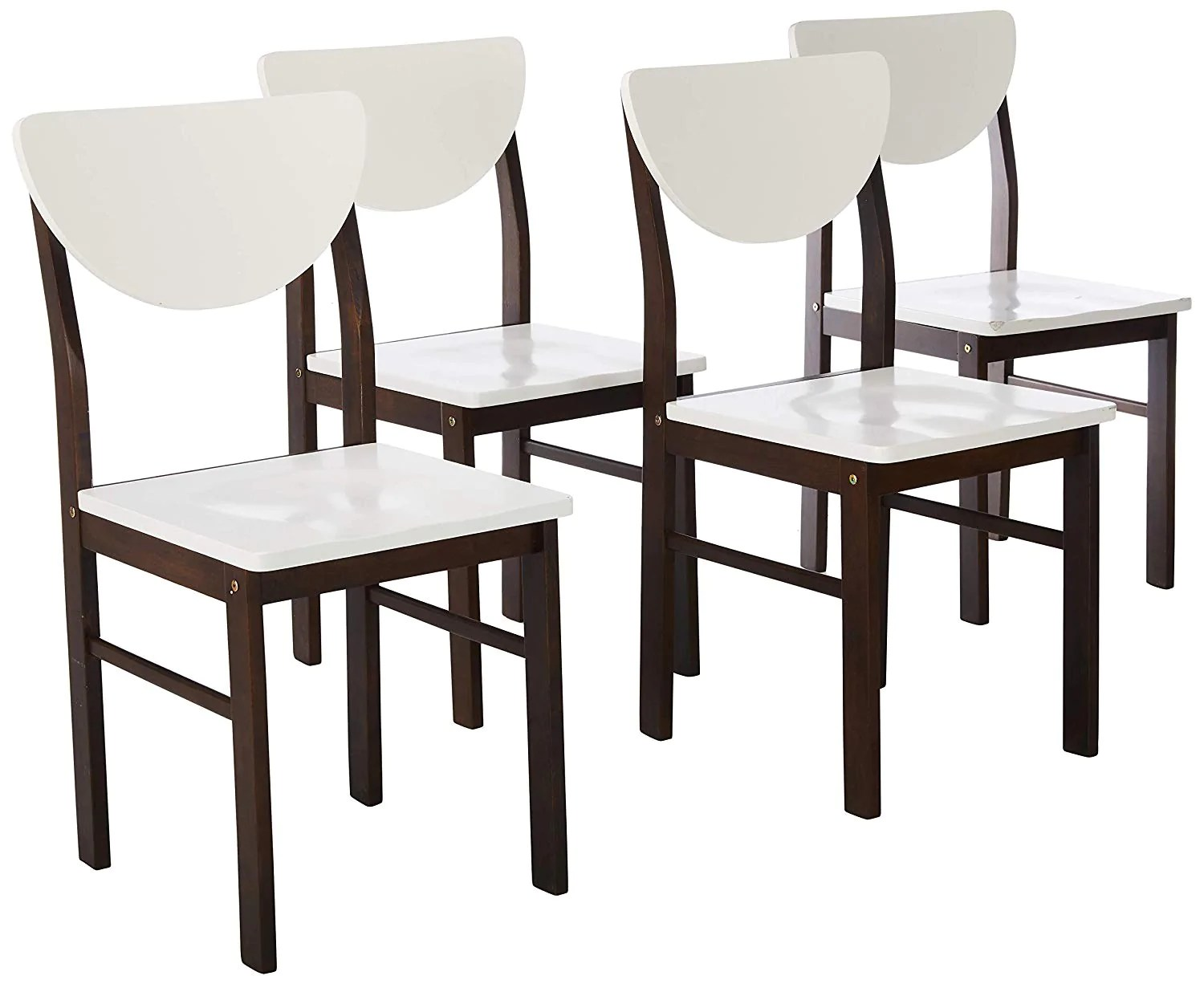 Lori Kitchen Dinette Retro Dining Chairs White Walnut Wood Contemporary Set Of 4 Pilaster Designs