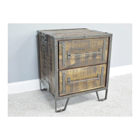 Hoxton Industrial Mango Wood And Steel Bedside Table 52 X