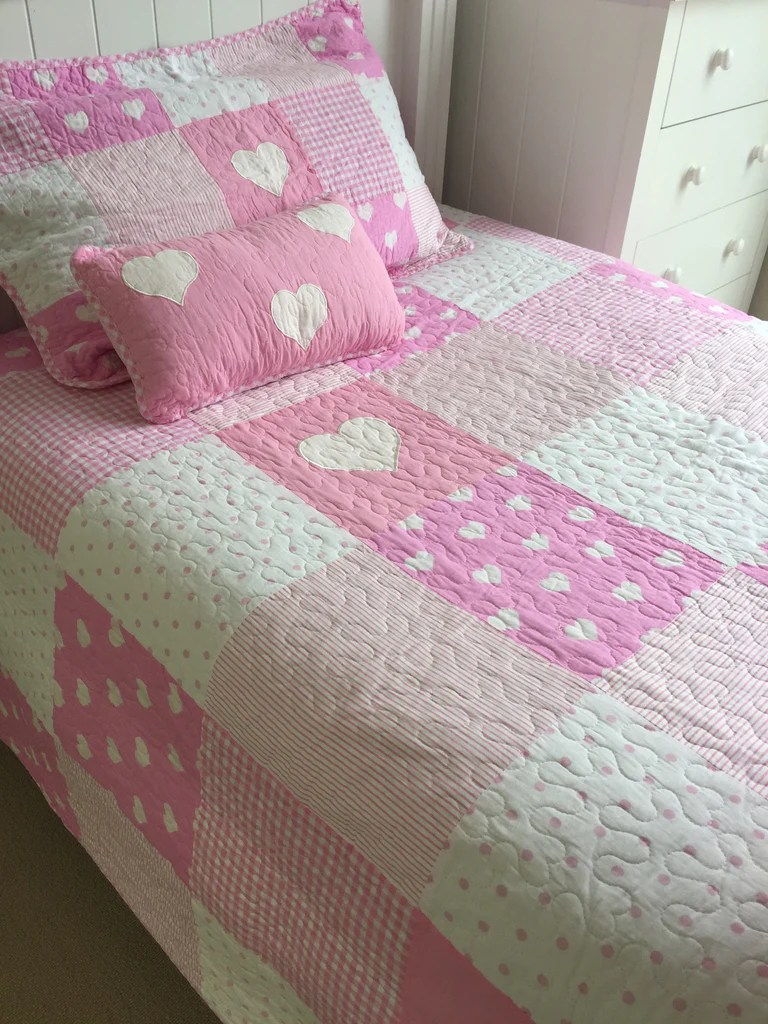 Single Coverlet Lucy Girls Pink Patchwork Single Coverlet Bedcover Set Sale