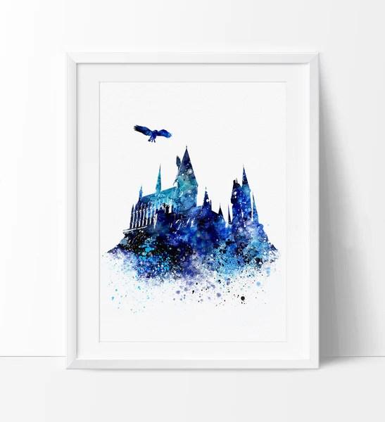 Glitter Animal Print Wallpaper Hogwarts Castle Art Wall Art Harry Potter Hogwarts