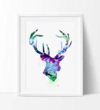 Deer Print, Deer Watercolor Art, Deer Painting Poster ...