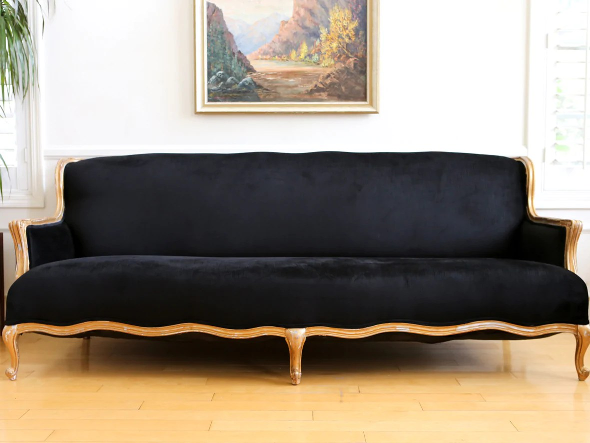 Vintage Couch Vintage French Velvet Black Louis Style Long Sofa Couch No 611