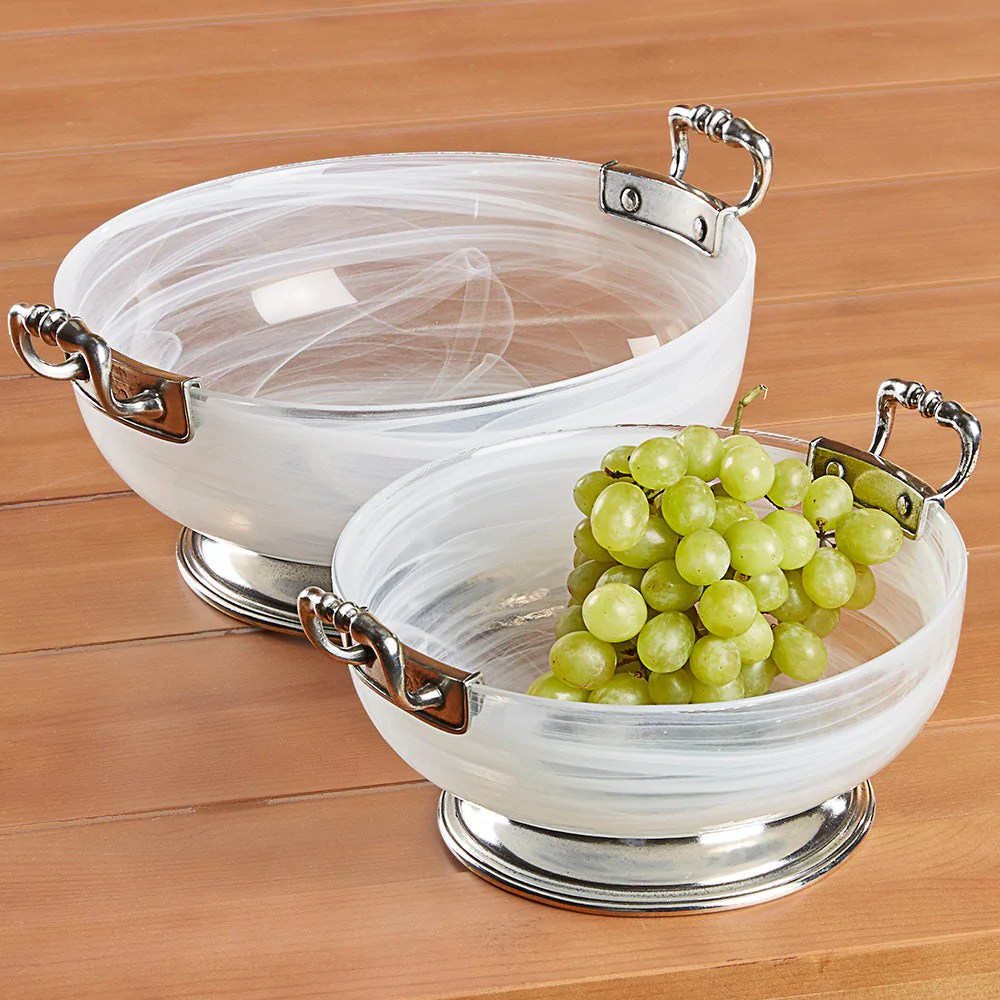 Arte Italica Customer Service Volterra Glass And Pewter Handled Serving Bowl By Arte Italica