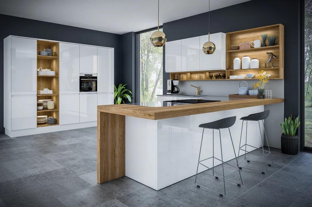 Jayline Handleless White High Gloss Kitchen Doors Drawer