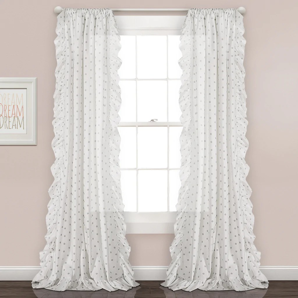 Ruffle Curtain Panel Ruffle Polka Dots Window Curtain Panel Set