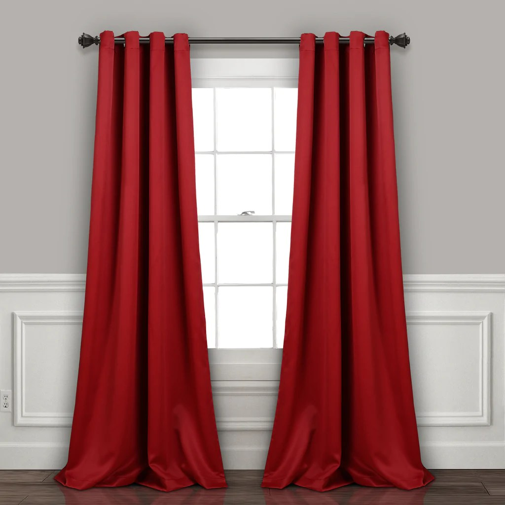 Dark Red Blackout Curtains Insulated Grommet Blackout Curtain Panel Set