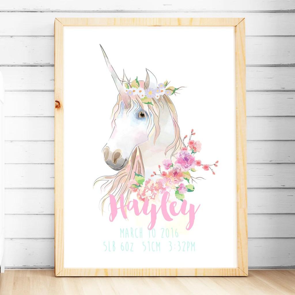 Cute Tribal Print Wallpaper Girls Unicorn Nursery Or Bedroom Print Customised With