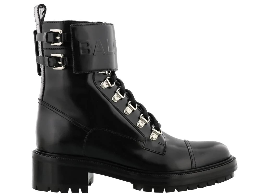 Ankle Strap Leather Boots It35 Black Balmain Ubvlhx1