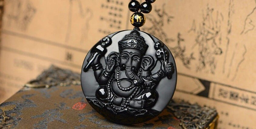 Black Obsidian Ganesh Necklace Insta Buddha