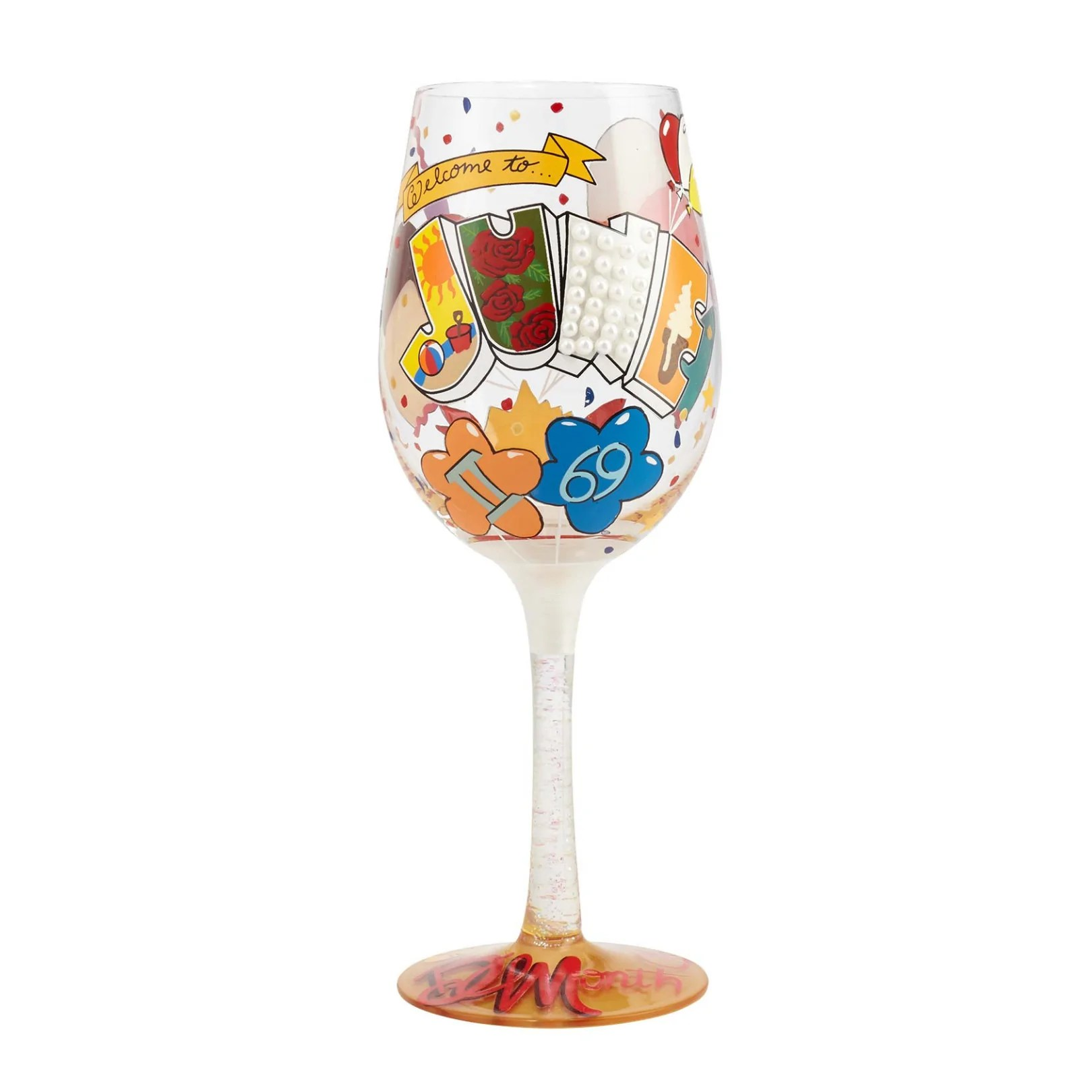 Wine Glasses June Birthday Hand Painted Wine Glass 15 Oz