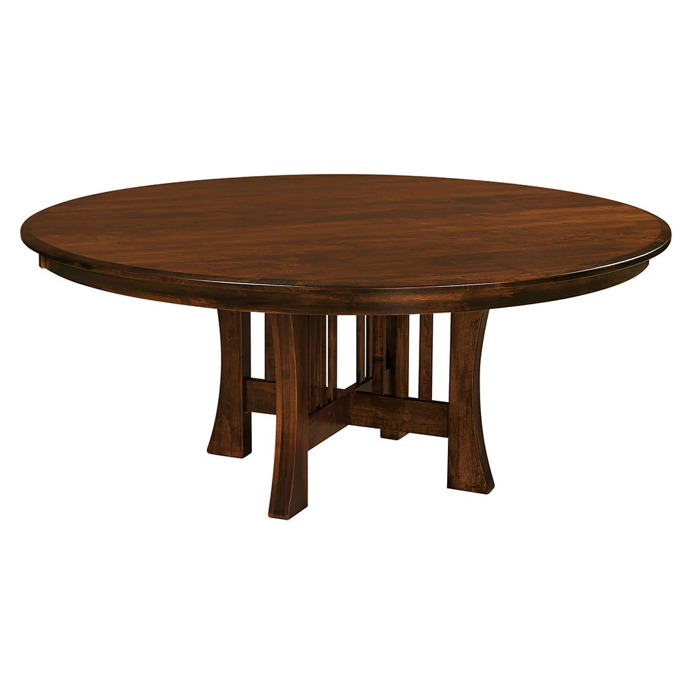 Round Timber Dining Table Arts Crafts Single Pedestal Table