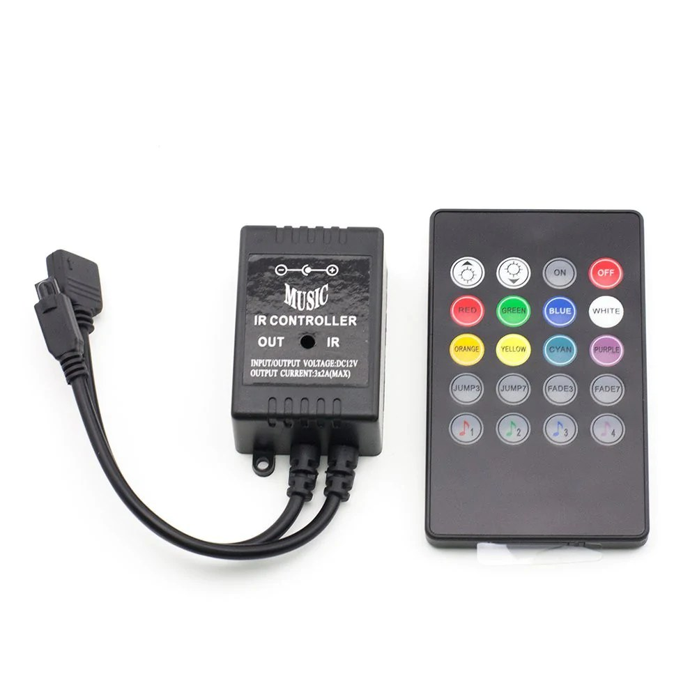 Rgb Dimmer Supernight 20keys Infrared Music Controller Ir Dimmer Sound Sense Remote Controller For Rgb Flexible Led Strip