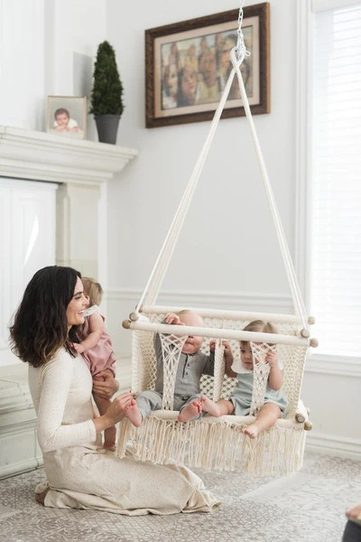 Garden Dreams Double Macrame Hammock Baby Swing Chair- Handmade In
