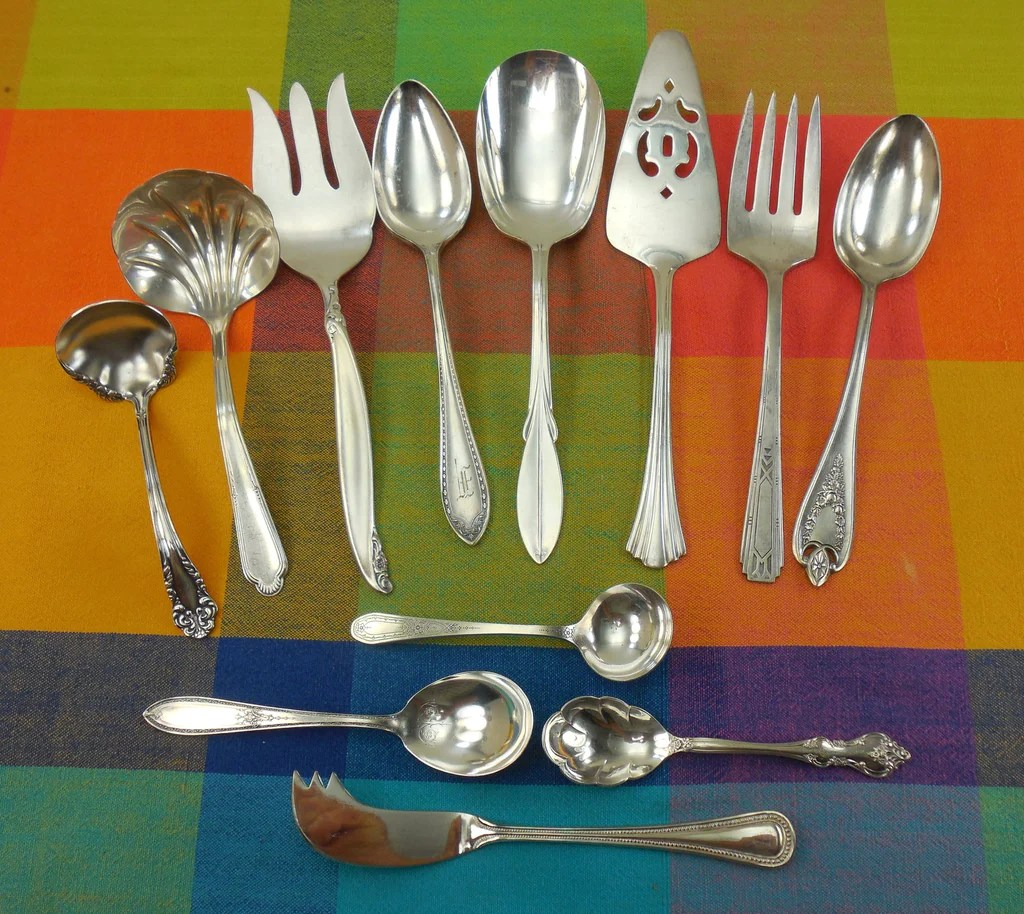 Elegant Flatware Sets 12 Piece Mismatched Serving Set Shabby Cottage Elegant