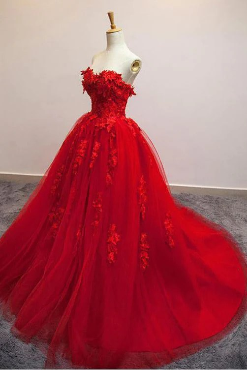 Bride Gowns Sexy Red Sweetheart Strapless Ball Gown Applique Tulle