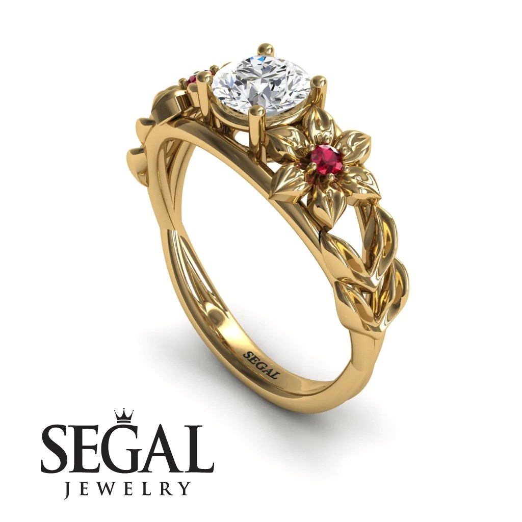 Rummy Engagement Ring Diamond Ring 14k Yellow G Floral Flowers Leafs Vintage Art Deco Ring Diamond Ruby Ella 1 1024x1024 Nature Inspired Engagement Rings Uk Nature Inspired Engagement Rings Sydney wedding rings Nature Inspired Engagement Rings