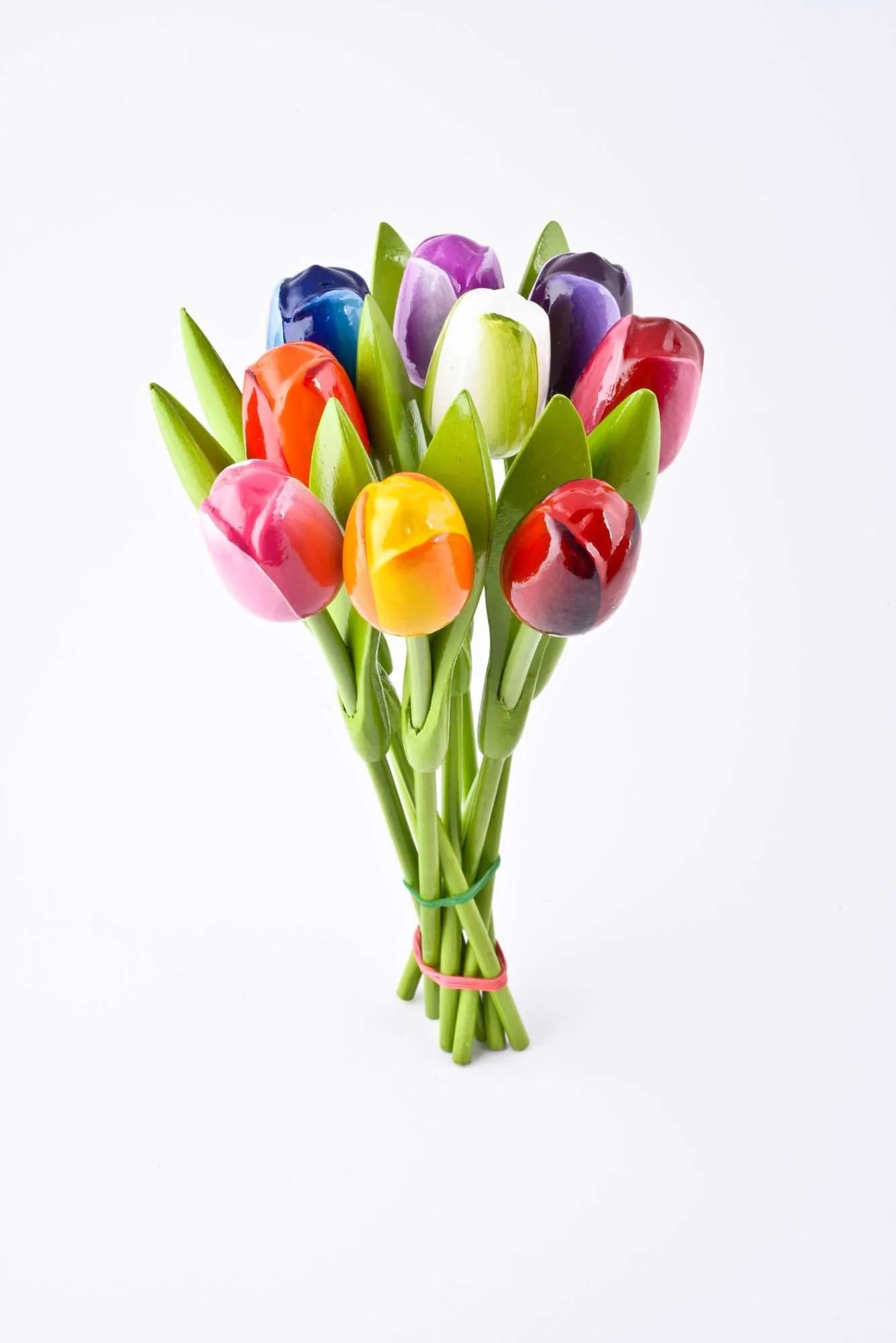 Bouquet Of Wooden Tulips Real Size 9 Pieces Netherlands Souvenirs