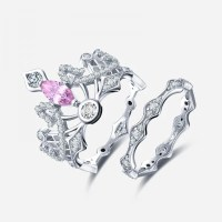 Crown-shaped Pink Diamond Engagement Ring  EverMarker
