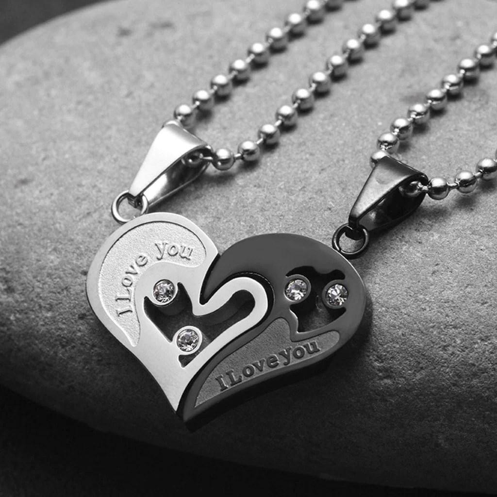 Cute Romantic Gf Bf Wallpaper Evermarker Heart Couple Necklaces Titanium Steel Evermarker
